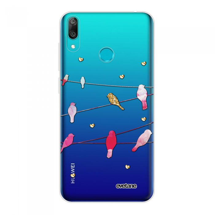 Coque Huawei Y7 2019 360 intégrale transparente Oiseaux Marbre Tendance Evetane.