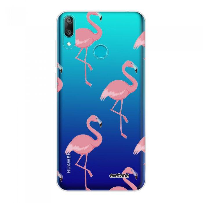 Coque Huawei Y7 2019 360 intégrale transparente Flamant Motif Tendance Evetane.