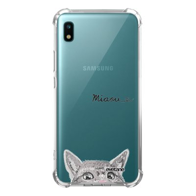 Coque Samsung Galaxy A10 anti-choc souple angles renforcés transparente Chat Miaou Evetane