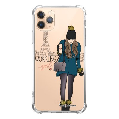 Coque iPhone 11 Pro anti-choc souple angles renforcés transparente Working girl La Coque Francaise