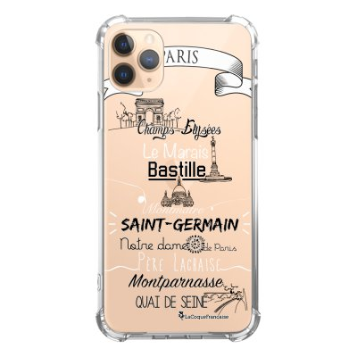 Coque iPhone 11 Pro anti-choc souple angles renforcés transparente Quartiers de Paris La Coque Francaise
