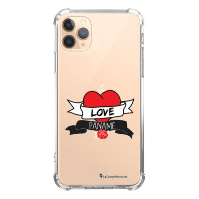 Coque iPhone 11 Pro anti-choc souple angles renforcés transparente Love Paname La Coque Francaise