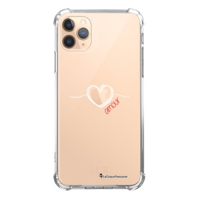 Coque iPhone 11 Pro anti-choc souple angles renforcés transparente Coeur Blanc Amour La Coque Francaise
