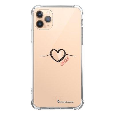 Coque iPhone 11 Pro anti-choc souple angles renforcés transparente Coeur Noir Amour La Coque Francaise