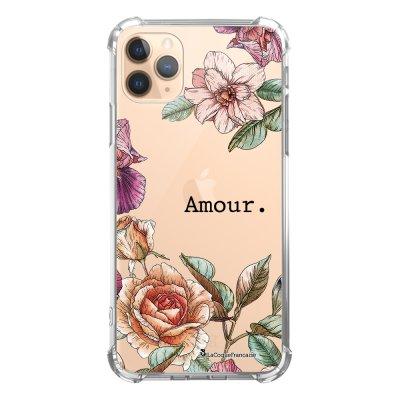 Coque iPhone 11 Pro anti-choc souple angles renforcés transparente Amour en fleurs La Coque Francaise