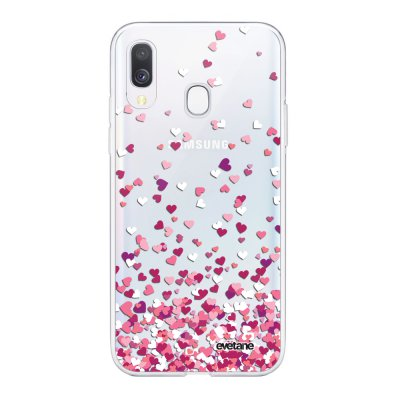 Coque Samsung Galaxy A40 souple transparente Confettis De Coeur Motif Ecriture Tendance Evetane