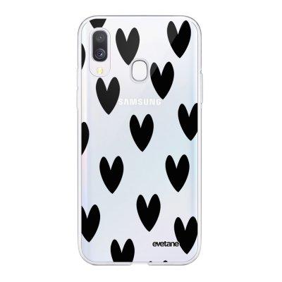 Coque Samsung Galaxy A40 souple transparente Coeurs Noirs Motif Ecriture Tendance Evetane