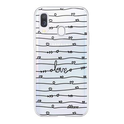 Coque Samsung Galaxy A40 souple transparente Love en lignes Motif Ecriture Tendance Evetane
