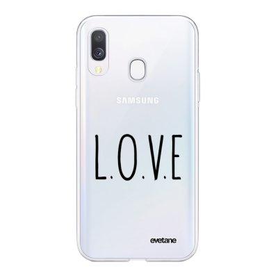 Coque Samsung Galaxy A40 souple transparente L.O.V.E Motif Ecriture Tendance Evetane