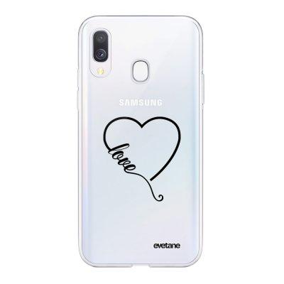 Coque Samsung Galaxy A40 souple transparente Coeur love Motif Ecriture Tendance Evetane