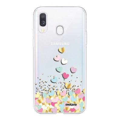 Coque Samsung Galaxy A40 souple transparente Coeurs Pastels Motif Ecriture Tendance Evetane