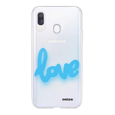 Coque Samsung Galaxy A40 souple transparente Love Fluo Motif Ecriture Tendance Evetane