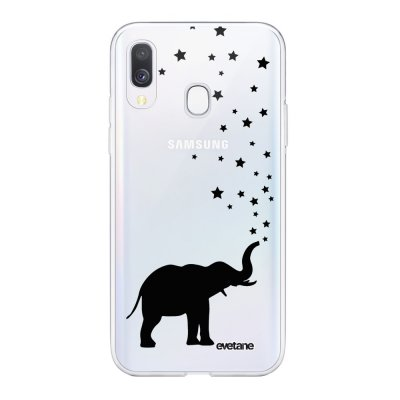 Coque Samsung Galaxy A40 souple transparente Elephant Motif Ecriture Tendance Evetane