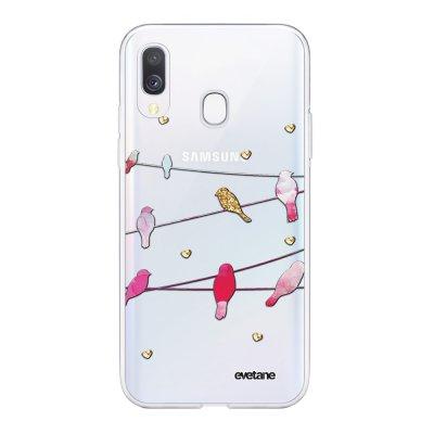 Coque Samsung Galaxy A40 souple transparente Oiseaux Marbre Motif Ecriture Tendance Evetane