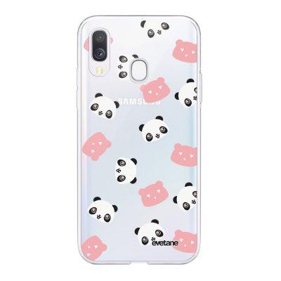 Coque Samsung Galaxy A40 souple transparente Tête de Panda Motif Ecriture Tendance Evetane
