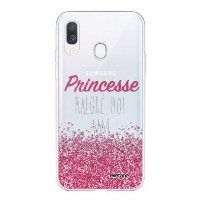 Coque Samsung Galaxy A40 souple transparente Princesse Malgré Moi Motif Ecriture Tendance Evetane