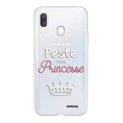 Coque Samsung Galaxy A40 souple transparente Peste mais Princesse blanc Motif Ecriture Tendance Evetane
