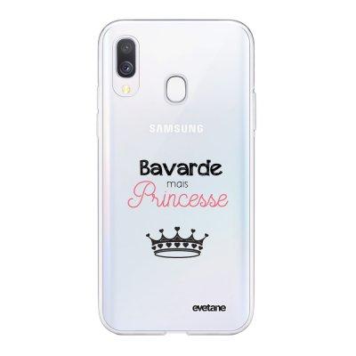Coque Samsung Galaxy A40 souple transparente Bavarde mais princesse Motif Ecriture Tendance Evetane