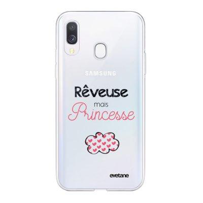 Coque Samsung Galaxy A40 souple transparente Rêveuse mais princesse Motif Ecriture Tendance Evetane