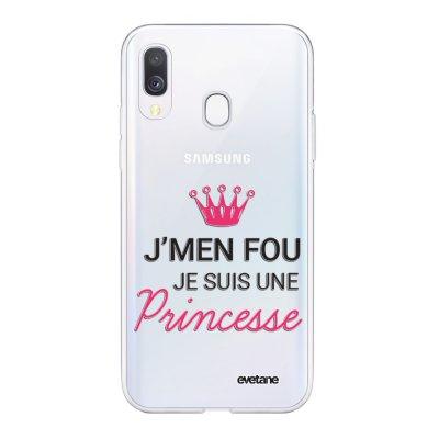 Coque Samsung Galaxy A40 souple transparente Je suis une princesse Motif Ecriture Tendance Evetane