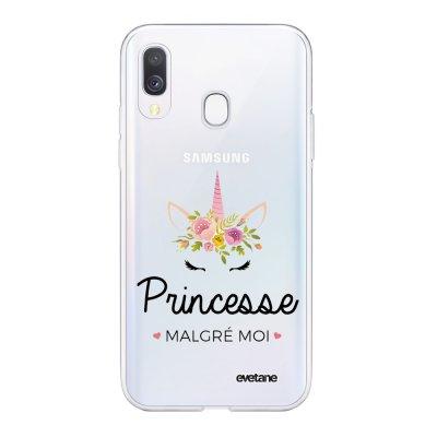 Coque Samsung Galaxy A40 souple transparente Princesse malgré moi 2019 Motif Ecriture Tendance Evetane