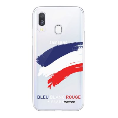 Coque Samsung Galaxy A40 souple transparente France Motif Ecriture Tendance Evetane