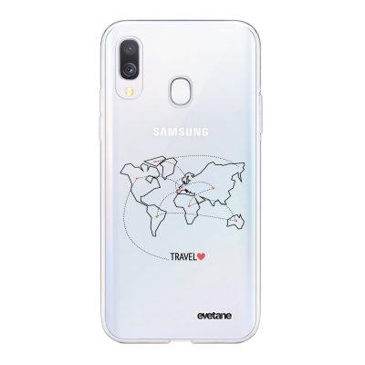 Coque Samsung Galaxy A40 souple transparente Travel Motif Ecriture Tendance Evetane