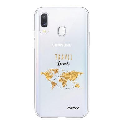 Coque Samsung Galaxy A40 souple transparente Travel Lover Motif Ecriture Tendance Evetane