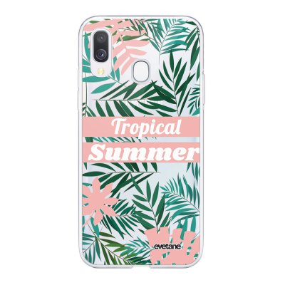 Coque Samsung Galaxy A40 souple transparente Tropical Summer Pastel Motif Ecriture Tendance Evetane