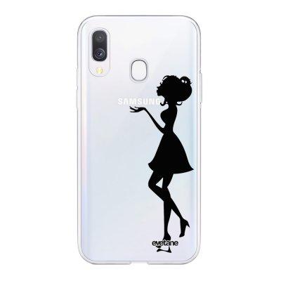 Coque Samsung Galaxy A40 souple transparente Silhouette Femme Motif Ecriture Tendance Evetane