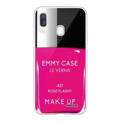 Coque Samsung Galaxy A40 souple transparente Vernis Rose Motif Ecriture Tendance Evetane