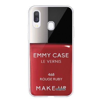 Coque Samsung Galaxy A40 souple transparente Vernis Rouge Motif Ecriture Tendance Evetane