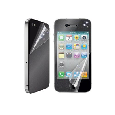Set 2 films protecteurs ecran transparents pailletes avant arriere iPhone 4 et 4S