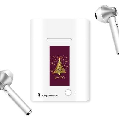 Ecouteurs Sans Fil Bluetooth Argent Sapin Joyeux Noel Bordeaux La Coque Francaise