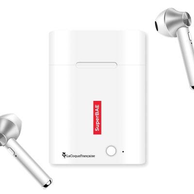 Ecouteurs Sans Fil Bluetooth Argent SuperBAE La Coque Francaise