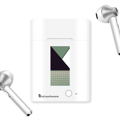 Ecouteurs Sans Fil Bluetooth Argent Canage vert La Coque Francaise