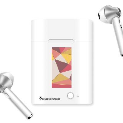 Ecouteurs Sans Fil Bluetooth Argent Triangles roses La Coque Francaise