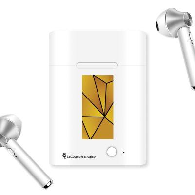 Ecouteurs Sans Fil Bluetooth Argent Jaune géométrique La Coque Francaise