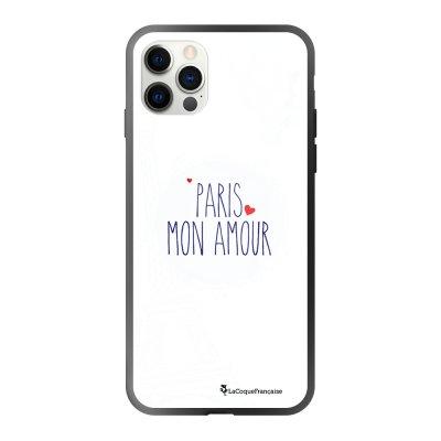 Coque iPhone 12/12 Pro soft touch effet glossy noir Paris mon Amour Design La Coque Francaise