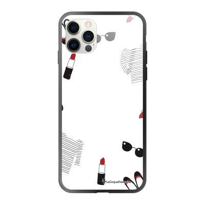 Coque iPhone 12/12 Pro soft touch effet glossy noir Mes petites choses blanc Design La Coque Francaise