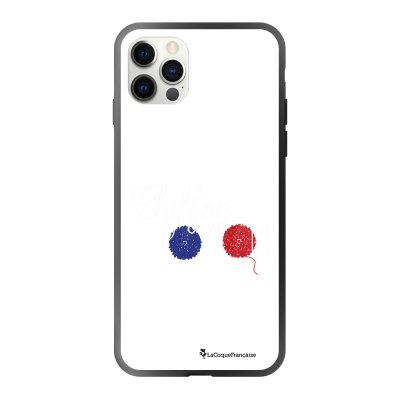 Coque iPhone 12/12 Pro soft touch effet glossy noir Chiffon pompom Design La Coque Francaise