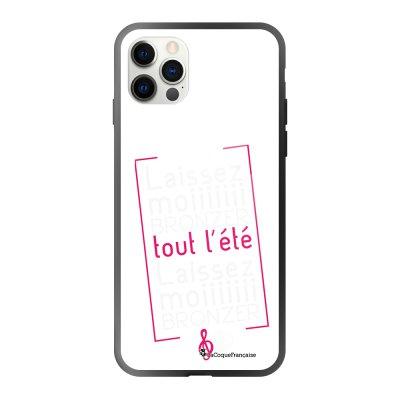 Coque iPhone 12/12 Pro soft touch effet glossy noir Laissez-moi bronzer Design La Coque Francaise