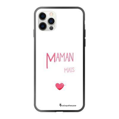 Coque iPhone 12/12 Pro soft touch effet glossy noir Maman pool coule Design La Coque Francaise