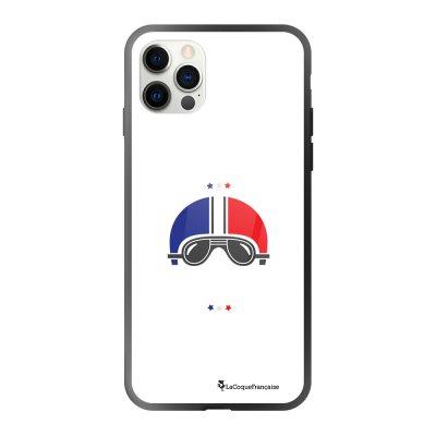 Coque iPhone 12/12 Pro soft touch effet glossy noir Ca gazz blanc Design La Coque Francaise