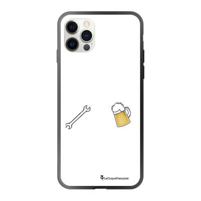 Coque iPhone 12/12 Pro soft touch effet glossy noir Bricole et picole blanc Design La Coque Francaise