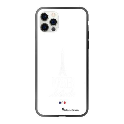 Coque iPhone 12/12 Pro soft touch effet glossy noir Parisien du dimanche blanc Design La Coque Francaise