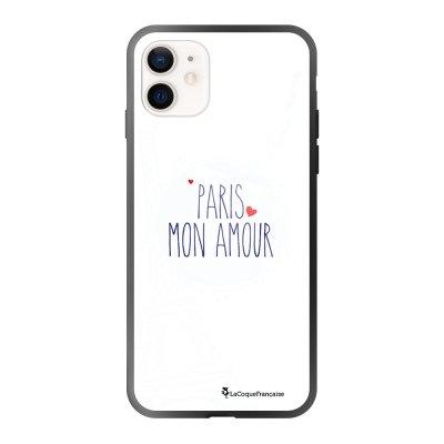 Coque iPhone 12 Mini soft touch effet glossy noir Paris mon Amour Design La Coque Francaise