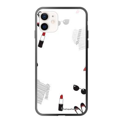 Coque iPhone 12 Mini soft touch effet glossy noir Mes petites choses blanc Design La Coque Francaise