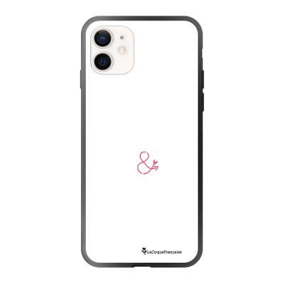 Coque iPhone 12 Mini soft touch effet glossy noir Jalouse et capricieuse blanc Design La Coque Francaise
