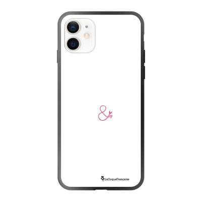 Coque iPhone 12 Mini soft touch effet glossy noir Bavarde blanc _ Edition rouge Design La Coque Francaise